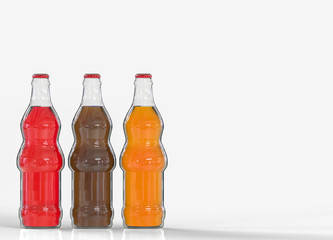 3d rendering. red, black and orange color softdrink bottles on gray background with copy space