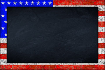 empty usa blackboard with wooden colorful frame isolated on white background / Vereinigte Staaten von Amerika Tafel mit holzrahmen