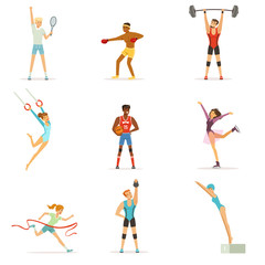 Athletic people doing various kinds of sports, people in gym, sports equipment colorful vector Illustrations