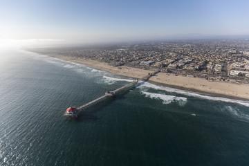 Aerial view of Huntington Beach in Orange County, California.
