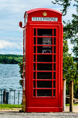 British Red Telephone Box on waterfront
