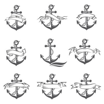 collection of anchor symbol with ribbon