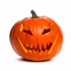 Spooky Halloween Jack o Lantern isolated on a white background