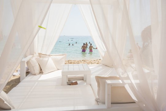 Baldachin, cabana bed on beach - view, sunshine