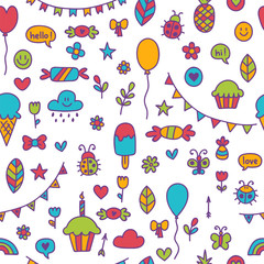 Background for cute little boys and girls. Hand drawn children drawings color seamless pattern. Doodle celebration objects