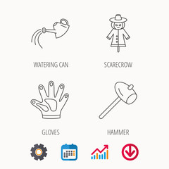 Hammer, scarecrow and watering can icons.