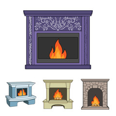 Fire, warmth and comfort.Fireplace set collection icons in cartoon style vector symbol stock illustration web.
