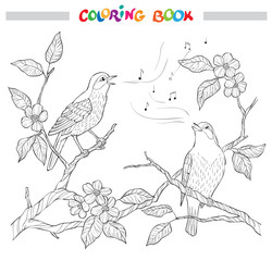 Spring garden composition. A bird sings on a bloom branch. Ornate decorative black and white illustration.