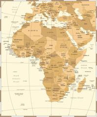 Africa Map - Vintage Vector Illustration
