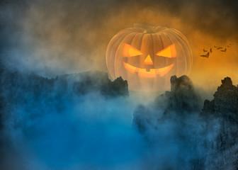 Spooky Halloween pumpkin in foggy mystical landscape