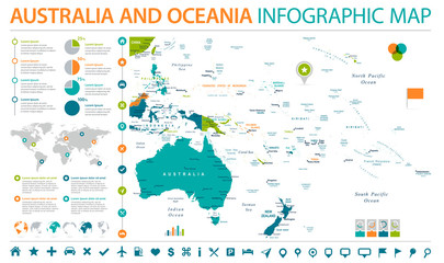 Australia and Oceania Map - Info Graphic Vector Illustration