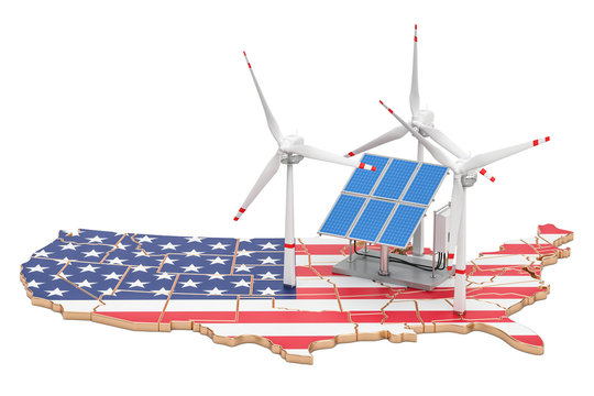 Renewable energy and sustainable development in USA, concept. 3D rendering