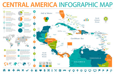 Central America Map - Info Graphic Vector Illustration