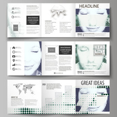 Business templates for tri fold square design brochures. Leaflet cover, vector layout. Halftone dotted background, retro style grungy pattern, vintage texture. Halftone effect with black dots on white