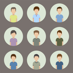 collection of icons of men in a flat style. male avatars. set of images of young men.