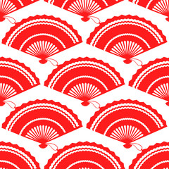 Red fan seamless pattern design on white baackground. Vector illustration