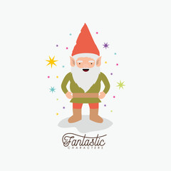 gnome fantastic character with costume and colorful sparks and stars on white background