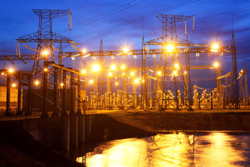 Electrical substation at night.Industrial business.