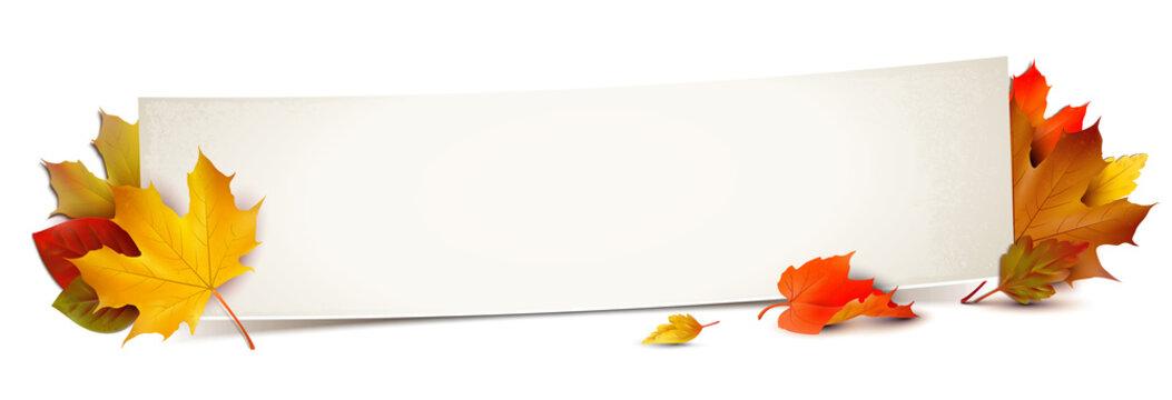 Banner und bunte Herbstblätter