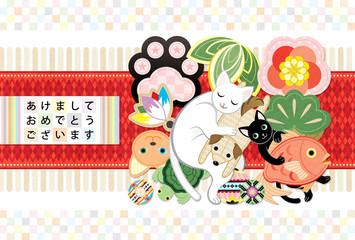 2018年2030年戌年完成年賀状テンプレート「猫専用犬&縁起物ぬいぐるみおもちゃクッション」あけましておめでとうございます