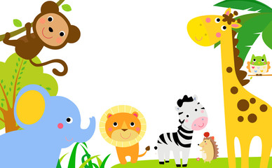 Fun Jungle Animals Border
