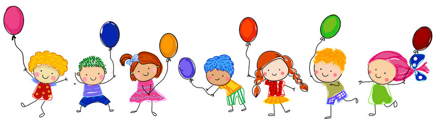Sketch children with balloons