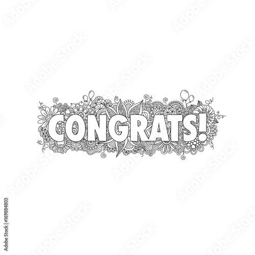 congratulations doodle vector illustration with the word congrats