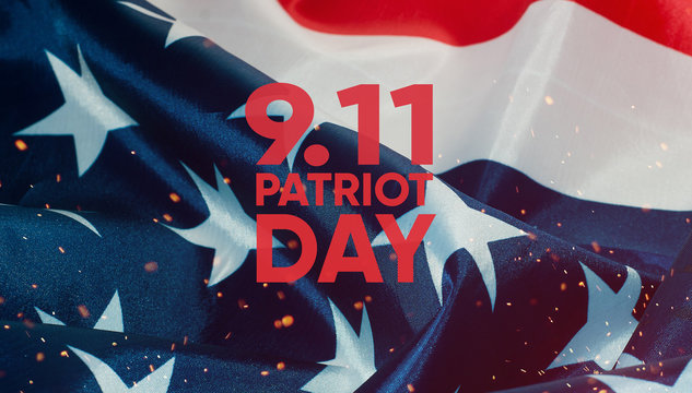 Patriot day banner, the American flag in the background