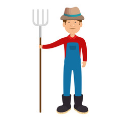 farmer with rake avatar character icon vector illustration design