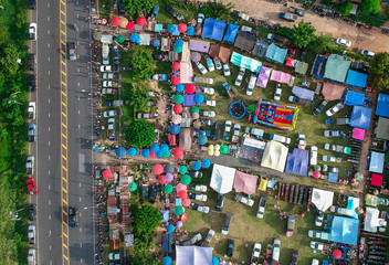 Aerial photo of Weekend market in Thailand