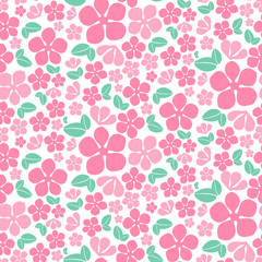 Seamless pink flowers pattern. Cute floral texture. Vector illustration.