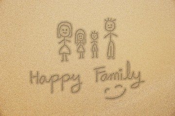 Happy Family handwriting with smiling face on fine sand