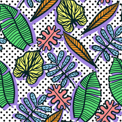 Seamless vector Colorful tropical pattern of exotic leaves on geometric dot background.