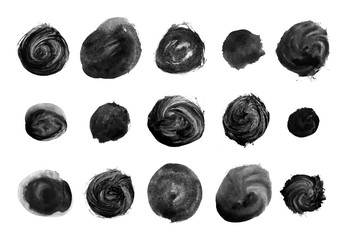 Set of black watercolor circle brushes