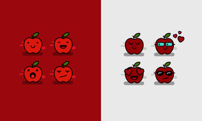 Set of Apple Line Icons in Different Expressions Emoji Set