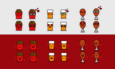 French Fries, Beer and Chicken Leg Junk Food Icons In Different Expressions Emoji Set
