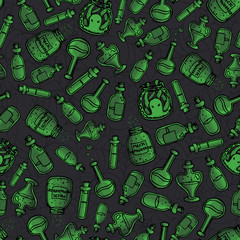 vector hand drawn green witchy bottles seamless pattern. Black outline of potions, elixirs and vials. Halloween design.