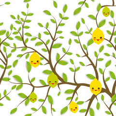 seamless pattern Brown branches with green leaves, lemon lime fruits Kawaii funny muzzle with pink cheeks and winking eyes, pastel colors on white background. Vector