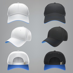 Vector realistic illustration of a white and black textile baseball cap with a blue visor, front, back and side view, isolated on white. Print, template, moc up, design element