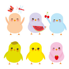 Kawaii colorful blue green orange pink yellow chick with pink cheeks and winking eyes, pastel colors on white background. Vector