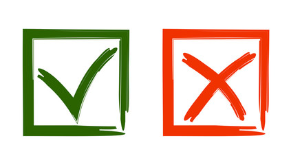 "Vector illustration  of signs to vote ""Yes"" and ""no"""