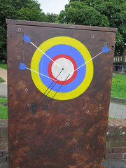 Painted target and arrows...