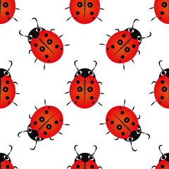 Seamless pattern with ladybugs and points. Stylish beautiful baby seamless pattern. Background for gift wrapping. Decoration fabric. Wallpaper design.