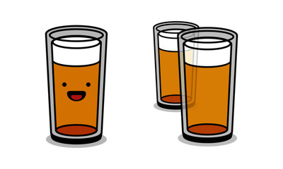 Whiskey Glass Line Art Style With Smiley Face Cartoon
