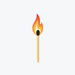 Burning Match Stick Illustration. Match With Fire