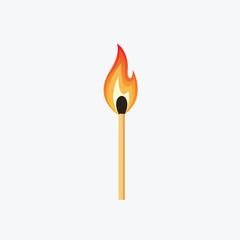 Burning Match Stick Illustration. Match With Fire