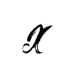 Letter X. Handwritten by dry brush. Rough strokes font. Vector illustration. Grunge style elegant alphabet
