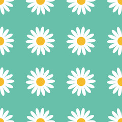 Seamless Pattern. White daisy chamomile flower icon. Cute camomile plant collection. Growing concept. Wrapping paper, textile template. Green background. Flat design.