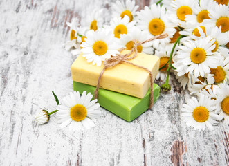 Handmade soap and chamomile