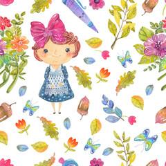 Welcome back to school, Cute watercolor school kid, pattern